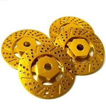 N10077 1/10 Scale Brake Disc Disk Wheel Hex Hub M12 12mm Hex x 4 Yellow Alloy