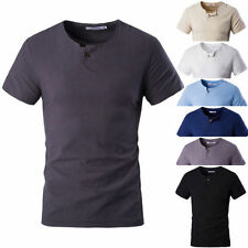 Linen Patternless Fitted T-Shirts for Men