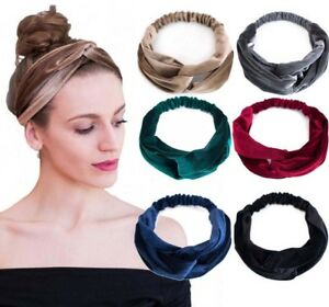 Haarband SAMT Stirnband Bandana Kopfband Haarreif Knoten Turban EDEL - 6 Farben!