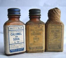 VTG 3X Sharpe & Dohme Calomel & Soda Bottles #313 #311 #317 paper Apothecary Rx