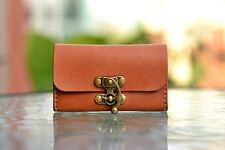Leather Business Card Holder Handmade Vintage Clasp Genuines Leather Brown Gift
