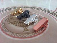 Mens 2CM Super Skinny Clip - 4 PIECE Tie Bar Set - Silver Rosé Gold Black Clasp