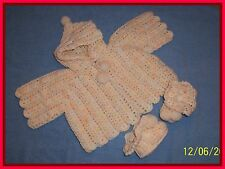 ORANGE-WHITE HOODED HAND-CROCHETED HANDMADE 2-PIECE BABY SWEATER SET 0-6 mo