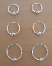 925 Sterling Silver, 3 Pairs of HOOP Earrings with Moving Ball 14mm, 12mm & 10mm