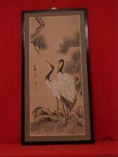 Grande peinture sur soie tendue, deux grues. Chine 1950/60