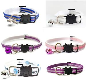 Cat Collar with Bell - Glitter Velvet   Pet Collars   Safe, Quick Release Buckle