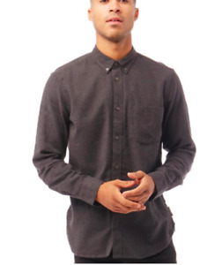 French Connection Mens Plain Flannel Long Sleeve Shirt Charcoal SIZE 2XL