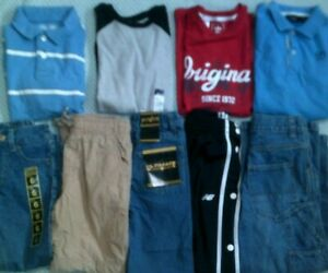 Boys ADIDAS NEW BALANCE Clothes Outfits lot Size 6 7-8 Jeans Pants Shirts NWT ++