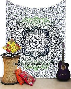 Ombre Mandala Tapestry Hippie Indian Handmade Cotton Bed cover Ethnic Queen Size
