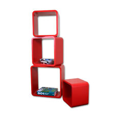 4 Piece Red Retro Floating Cube Shelves.Bookcase