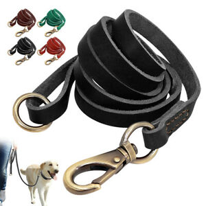 Genuine Leather Dog Leash 5ft Durable Pet Lead with Handle for Medium Large Dogs