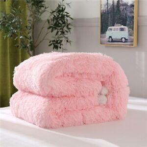 Mink Fluffy Long Velvet Pure Quilt Filled Warm fiber Winter Bed Skirt Sets 2020