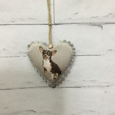 Chihuahua Gift Dog Puppies Handmade Fabric Hanging Heart Decoration Shabby Chic