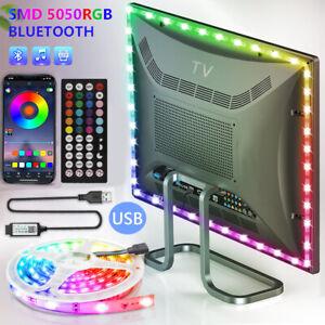 RGB 5050 LED Strip Lights Bluetooth Cabinet TV Back Bar Lights with App Remote