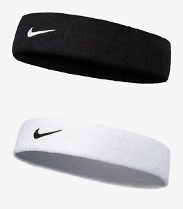 Nike Swoosh Sports Band Headband Running OSFM White Black Hairband AC2285-010