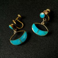 Old Vintage Turquoise Clip-on Knot Earrings Costume Fashion Retro Gold Tone
