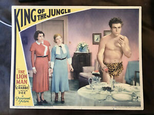 "King of The Jungle 1933 Paramount 11x14"" lobby card Buster Crabbe Frances Dee"