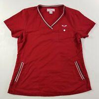 Koi Kathy Peterson Scrub Ashley Top Three Pockets Red Nurse Women's Size Small