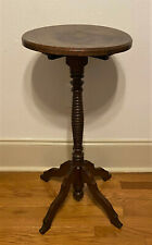 Antique Vintage Round Pedestal Tea Occasional Side Table Plant Stand - 30""
