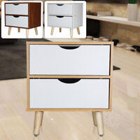 Modern Bedside Table Cabinet with 2 Drawers Storage Nightstand Bedroom UK