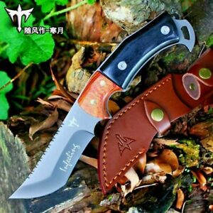"""Trailing Point Knife Fixed Blade Hunting Combat Tactical Titanium Plated Wood 4"""""""