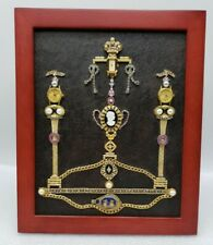 VIntage Framed Jewelry Art Cameos/Watches Collage