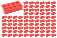 ☀️100 NEW LEGO 2x4 RED Bricks (ID 3001) BULK Parts star wars city town