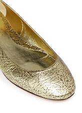 Retail $710 Alexander McQueen Gold Skull Ankle Strap Leather Ballerina Flats Sz8