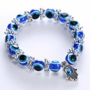 Handmade Evil Blue Eye Lucky Bracelet Glass Beads Bangle Women Men Jewelry Gift