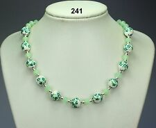 Green & white flower porcelain necklace, opaque green crystals, silver balls 19""