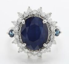 4.65 Carat Natural Sapphire and Diamonds in 14K Solid White Gold Women's Ring