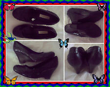New Xhilaration Womens Black Wedge Pumps Ribbon Decor High Heel Shoes Size 7.5 M