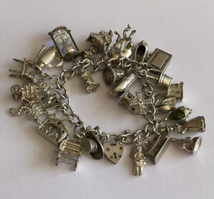 Vintage Heavy Sterling Silver Charm Bracelet Padlock & Charms 101.5 Grams