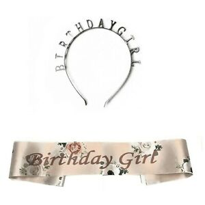 ROSE GOLD FLORAL BIRTHDAY GIRL SASH ADD TIARA HAPPY BIRTHDAY ACCESSORIES SASHES