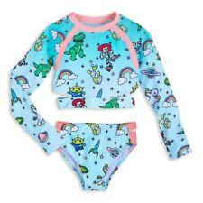 Disney Store Toy Story Girl/'s Swimsuit Rashguard Set Jesse Rex Alien Unicorn New