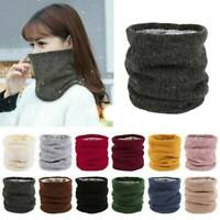 Unisex Women Winter Knitted Neck Warmer Circle Wrap Cowl Loop Snood Scarf Shawl