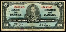 CANADA $5 DOLLARS NOTE 1937 COYNE~TOWERS #Q181