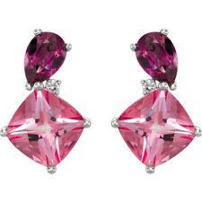 NWT 14K White Gold Rhodolite Garnet & Pink Topaz & .03 CTW Diamond Stud Earrings