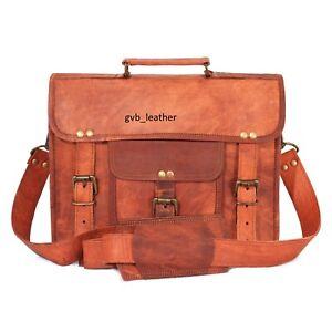 "18"" Men's Vintage Genuine Leather Messenger Attaché Shoulder Laptop Bag computer"
