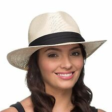 The Hat Company Ladies Panama Straw Sun Hat with Polka dot ribbon band  LS16007 e9c34d0f657