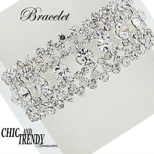 HIGH END WIDE CLEAR CRYSTAL BRACELET PROM FORMAL WEDDING CHIC AND TRENDY JEWELRY