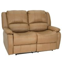 """RecPro Charles 58"""" Double RV Wall Hugger Recliner Sofa Loveseat Toffee"""