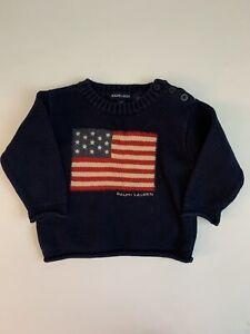 Vintage Ralph Lauren Navy Blue American Flag Sweater 12 Months 12M Baby Boy