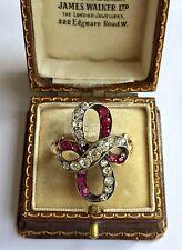 A Fabulous Georgian 2ct Diamond & Ruby Twist Ring Circa 1800's