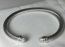 David yurman 5mm Silver Cable Classics Bracelet with Pave Diamonds