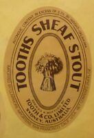 OLD AUSTRALIAN BEER LABEL, TOOTH BREWERY SYDNEY, SHEAF STOUT US EXPORT