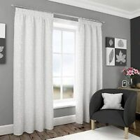 HARROGATE EMBROIDERED VOILE FULLY LINED PENCIL PLEAT CURTAINS FLORAL LEAVES TAPE