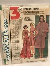 McCalls Sewing Pattern 4994 Misses Ladies Dress / Jacket Size 14-16-18 UC