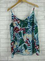 Decjuba Singlet top Green, blue, purple floral print V-neck Sz 12