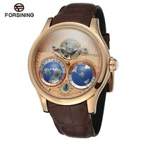 Men's Automatic Gold-Color Stainless Steel Case World Map Dial Watch FSG9413M3R3